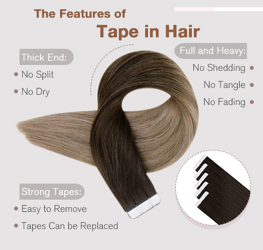 vivien 50 grams and 20 pieces per pack tape in hair human hair extensions silky straight soft and natural blend well with hair