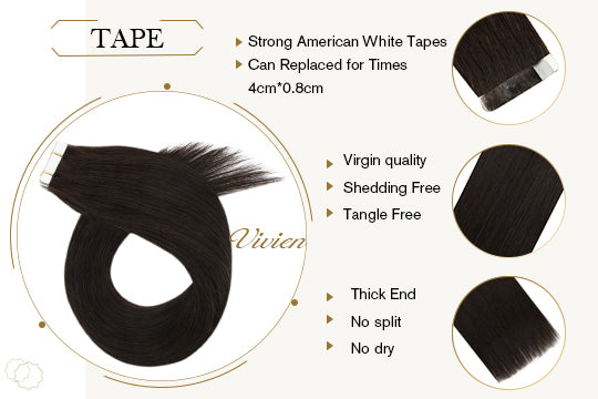 vivien virgin injection seamless tape in hair 100% real human hair extension