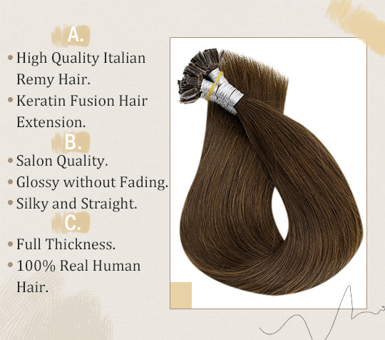 vivien solid color medium brown u tip human hair extensions can be last for a  long time 50 grams per pack u tip pre bonded human hair extension