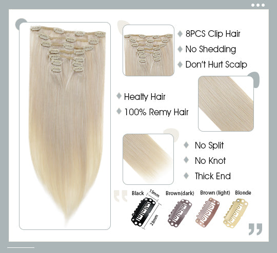 remy human hair clip in