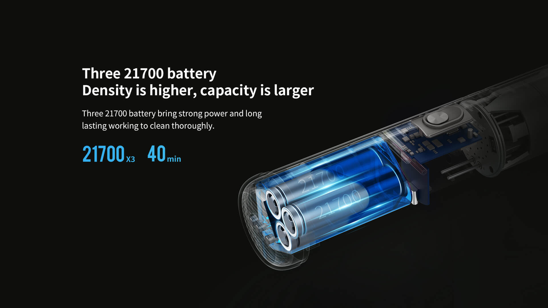 Three 21700 battery density is hight, capacity is larger, bring strong power and long lasting working to clean thoroughly.