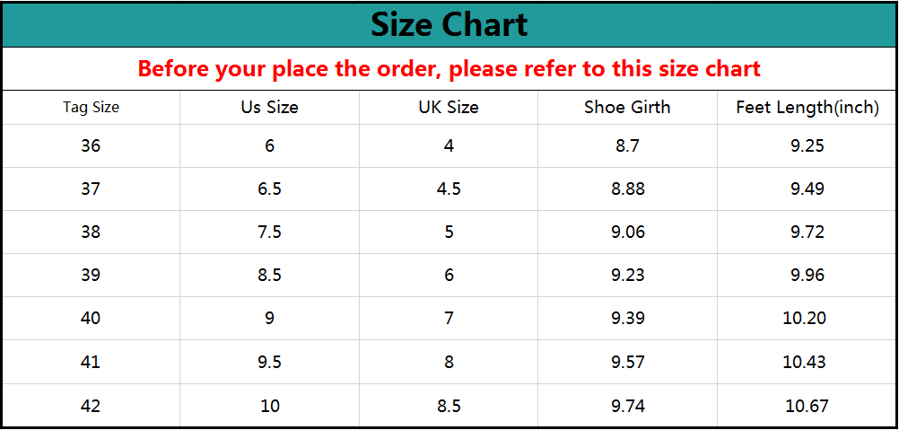Akk Large Size Flexible Women's Slip-on Walking Shoes Size Chart