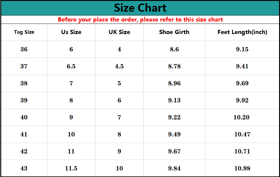 Akk Large Size Casual Women's Slip-on Walking Sneakers Size Chart