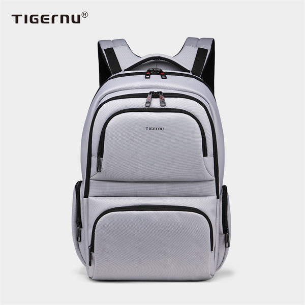 The side view of the silver backpack model T-B3140
