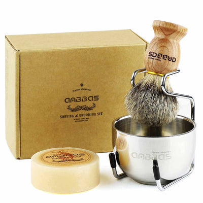 4IN1 Badger Shaving Brush Set with Stand and Shaving Bowl Perfect for Men Gift