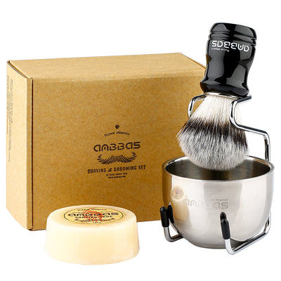4in1 Vegan Shaving Brush Set,Stand with Soap and Bowl for Close Shave Kit