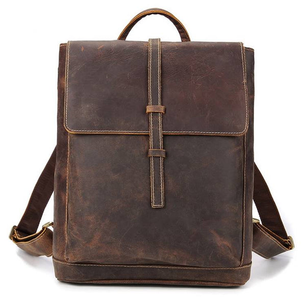 Archival Flap-Over Rustic Leather Backpack | Grittyrustic