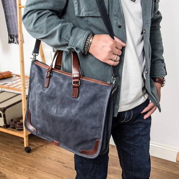 Cameron Two-Toned Full-Grain Rustic Leather Briefcase   Grittyrustic