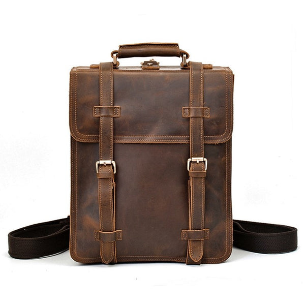 Exploration Vertical Rustic Leather Backpack | Grittyrustic.com