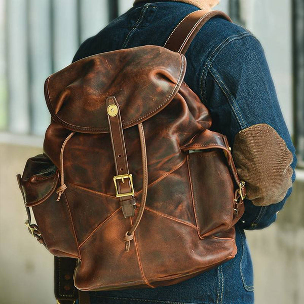 Oakenhide Drawstring Full-Grain Leather Backpack | Grittyrustic