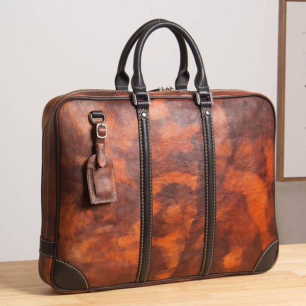 Texian Two-Tone Full-Grain Leather Rustic Portfolio Briefcase | Grittyrustic