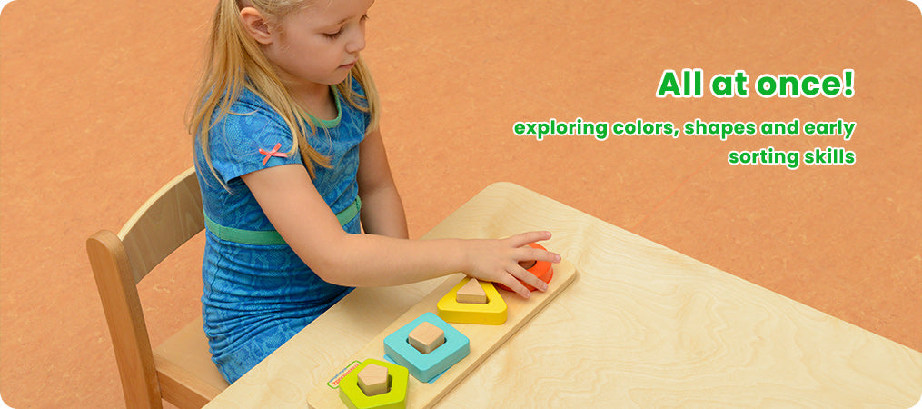 All at once!  exploring colors, shapes and early sorting skills