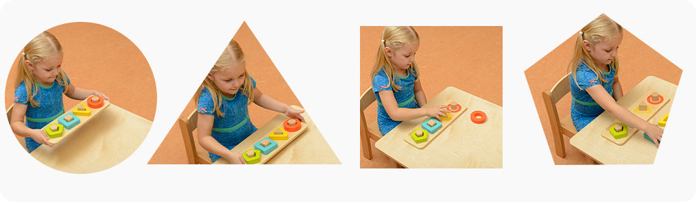 Children will stimulate fine motor skills and shape recognition with this peg puzzle.