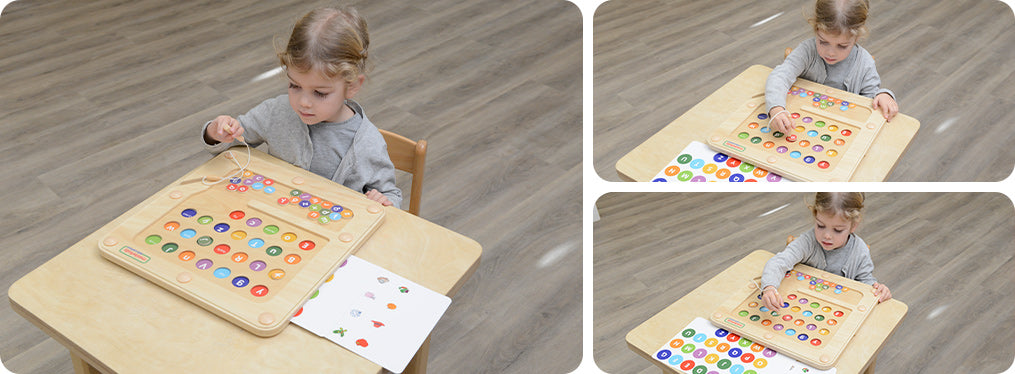 This alphabet learning board encourages learning of uppercase and lowercase alphabets.