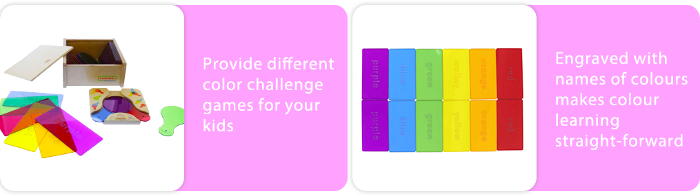 Provide different color challenge games for your kids.    Engraved with names of colours  makes colour learning straight-forward.