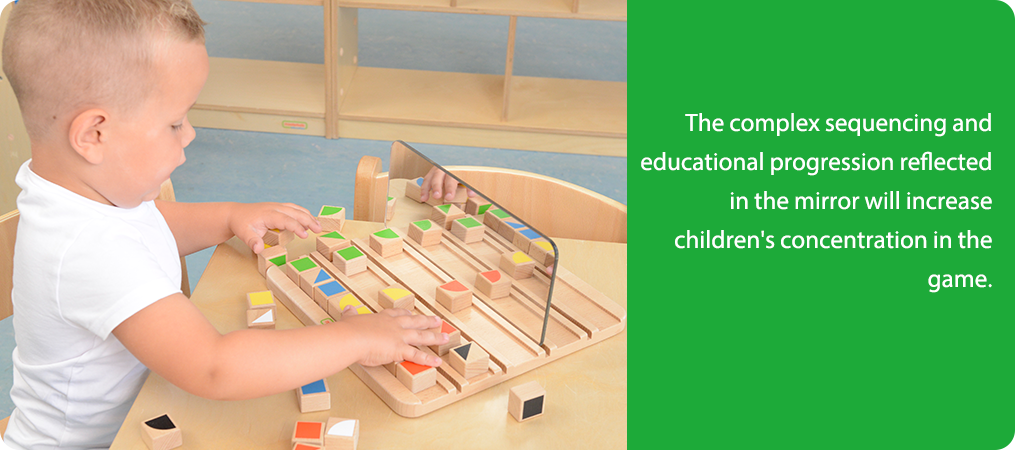 The complex sequencing and educational progression reflected in the mirror will increase children's concentration in the game