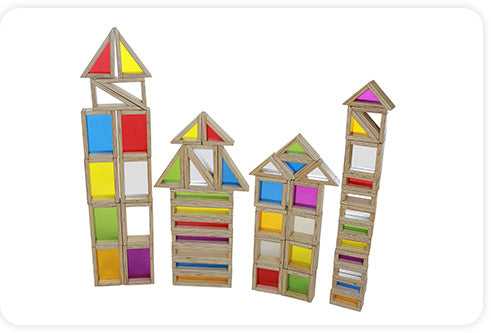 A set of 51 solid wooden blocks featuring colourful acrylic centres, mirror centers and hollow centers