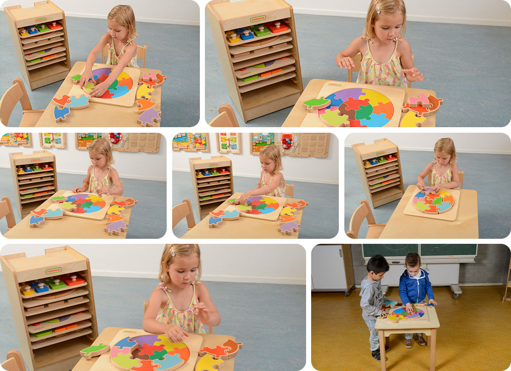 A giant jigsaw to help children develop fine motor skills, logical thinking, shape and colour recognition. The large wooden pieces can either be assembled onto the colour-guided tray or completed free hand. Made from Russian Birch plywood and European Beech wood (FSC).