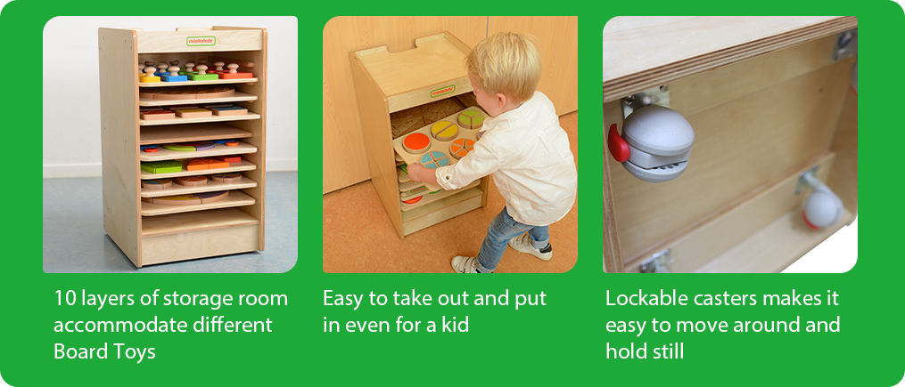 10 layers of storage room accommodate different Board Toys.   Easy to take out and put in even for a kid.  Lockable casters makes it easy to move around and hold still.