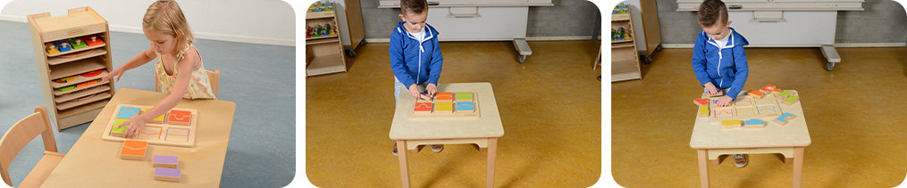 Children develop early logic skills with the shapes puzzles.