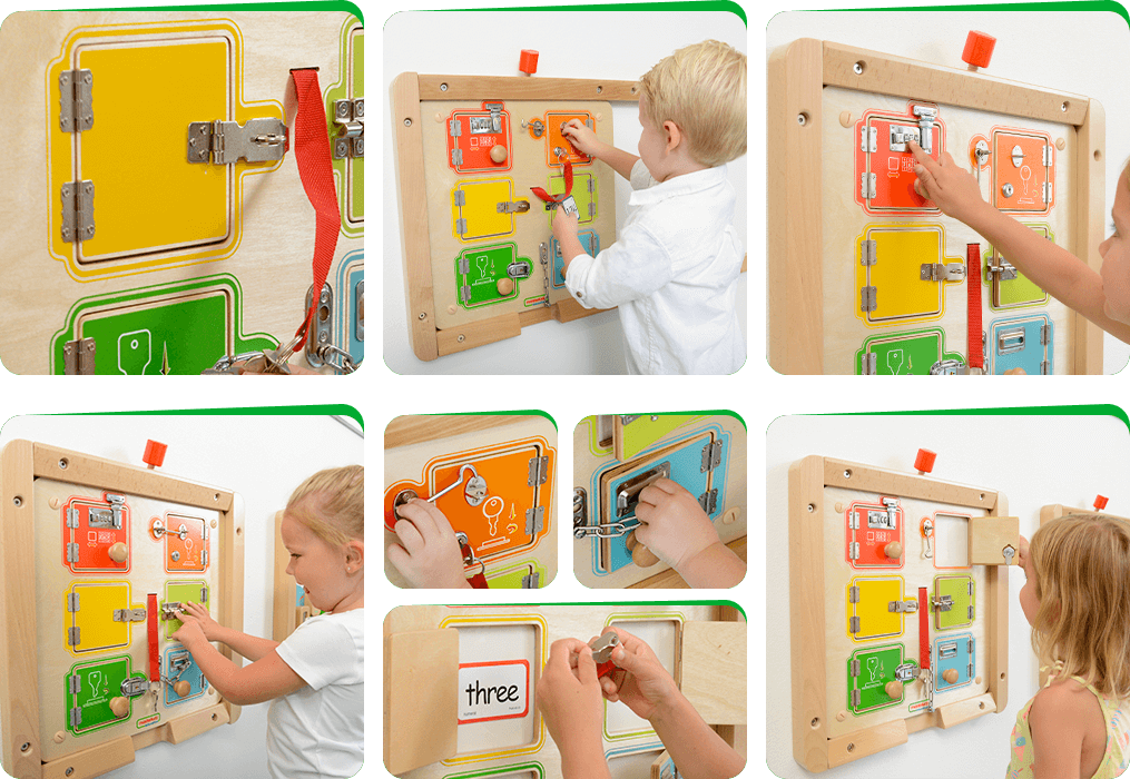 Children can play a memory game to find a picture whilst learning to open the various catches and locks.