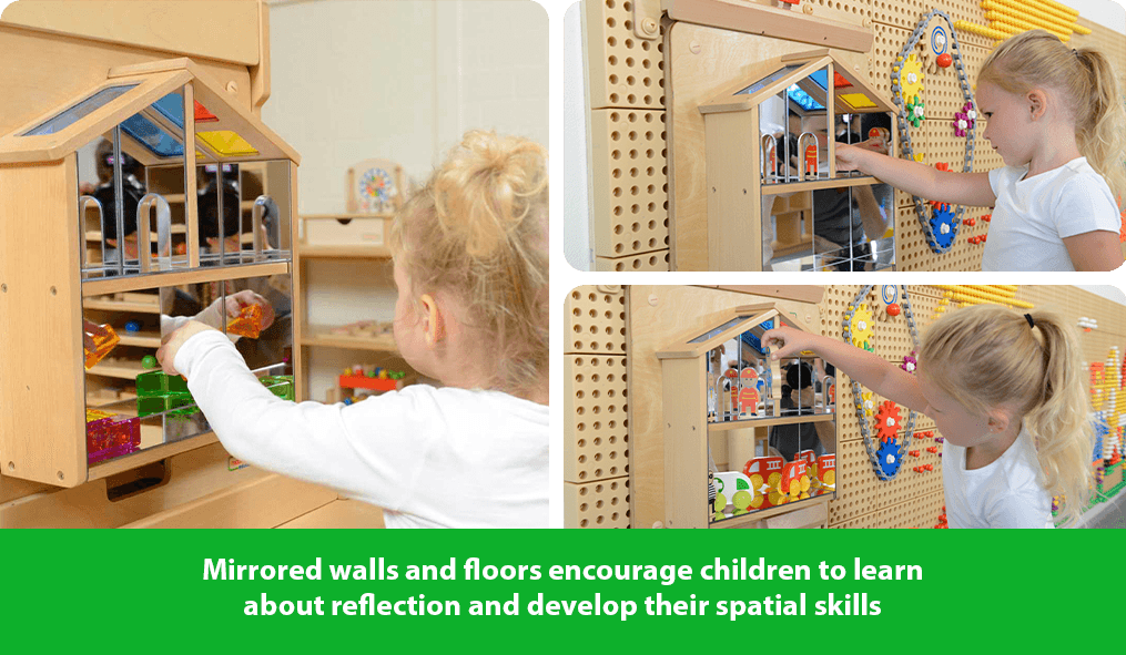 Mirrored walls and floors encourage children to learn about reflection and develop their spatial skills