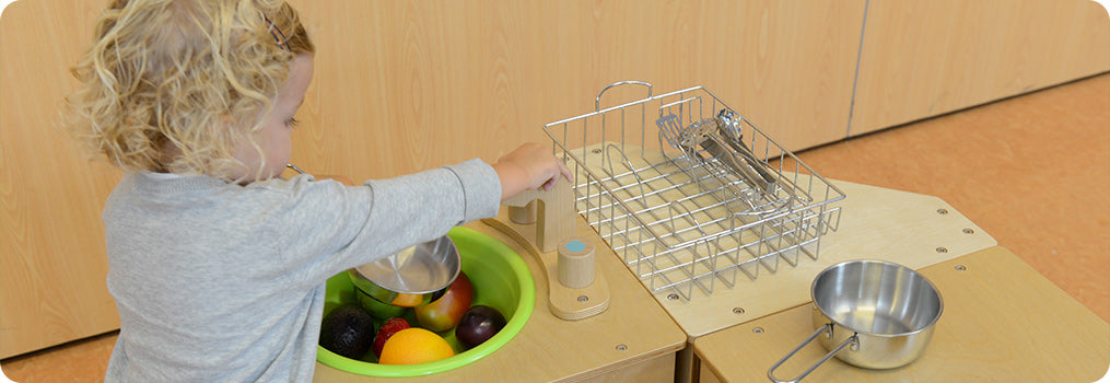 Children can learn about the different functions and usages of various kitchen utensils
