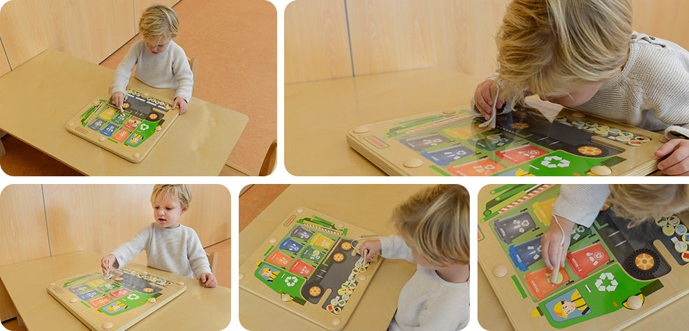Learn the recycling basics with this handy magnetic sorting board!