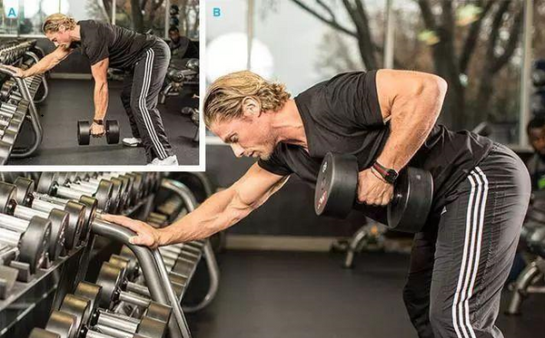 one-arm dumbbells rows