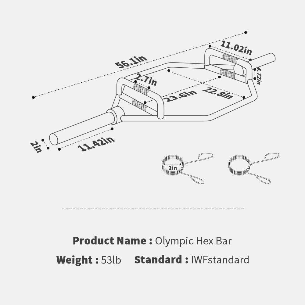 Olympic 2-Inch Hex Weight Lifting Bar 1000-Pound Capacity
