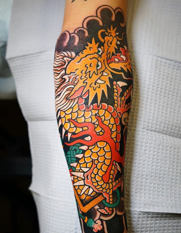 japanese dragon calf tattoo
