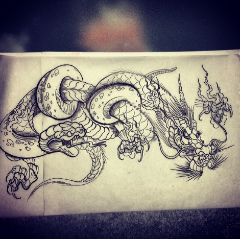 Snake and Dragon Tattoo Design