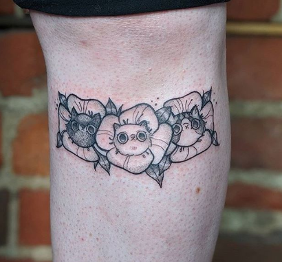 flower and cat tattoo design