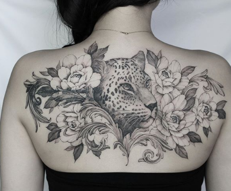 flower and leopard panther tattoo design