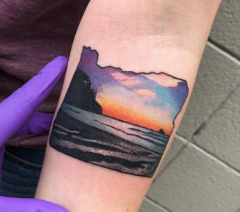 Colorful Beach Tattoo in a frame