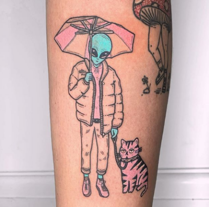 Tattoo of Colorful Alien with an umbrella and a cat