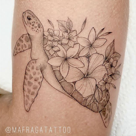flower and turtle tattoo