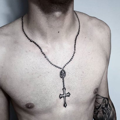 rosary chest tattoo