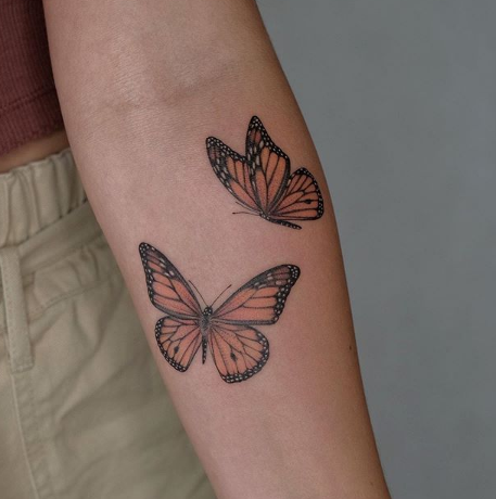 Monarch Butterfly Tattoo on arm