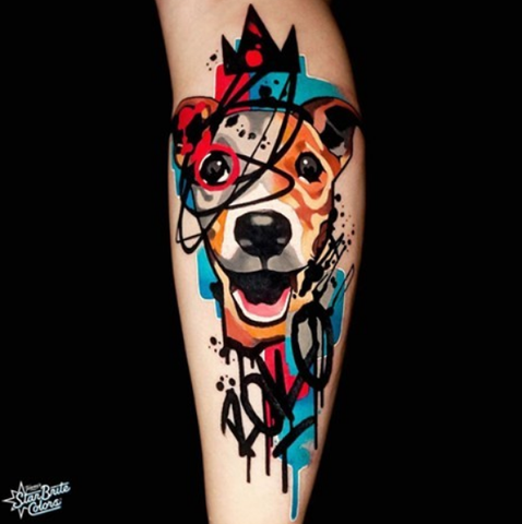 colored dog tattoo