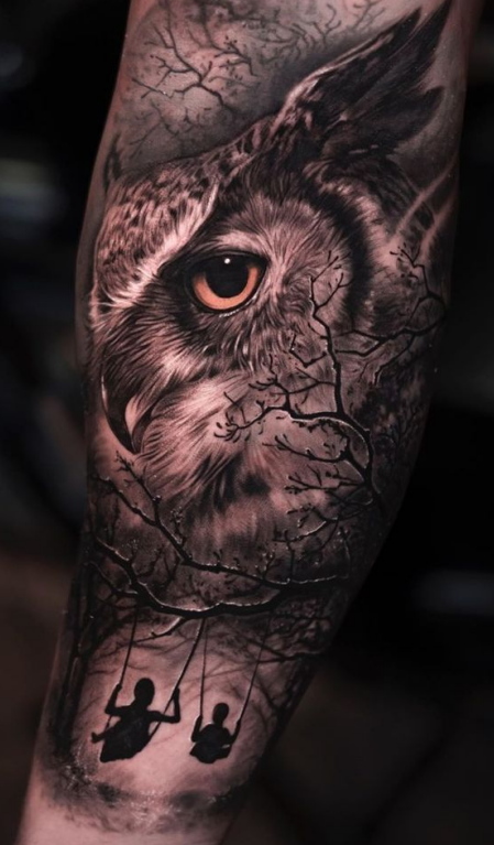 owl tattoo with swing
