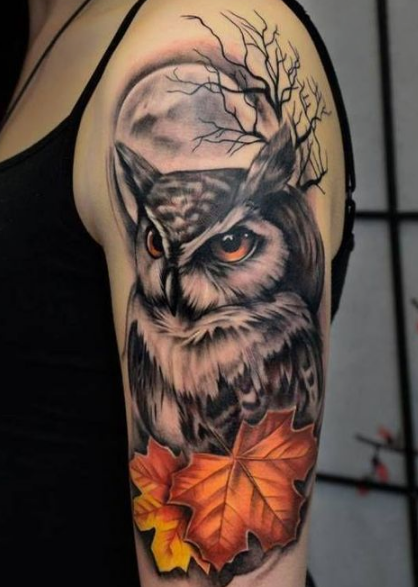 maple and owl tattoo