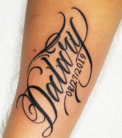 Date of Birth and Name Tattoo