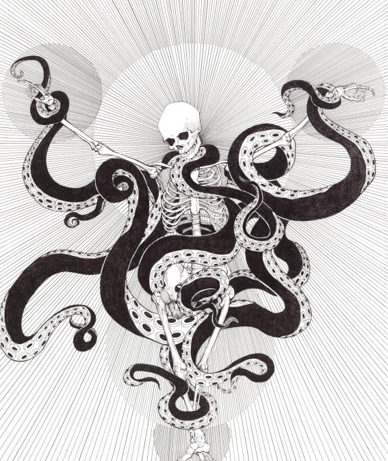 octopus skeleton tattoo design