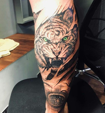 3D tiger tattoo on  forearm