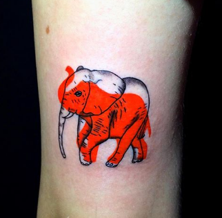 two-colored elephant tattoo