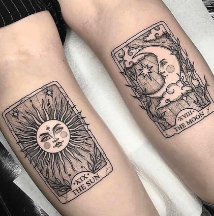 matching couple sun and moon poker card tattoo