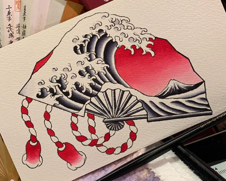 Japanese water and wave tattoo