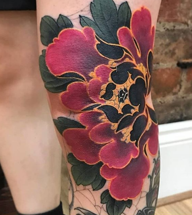 Japanese plant flower tattoo