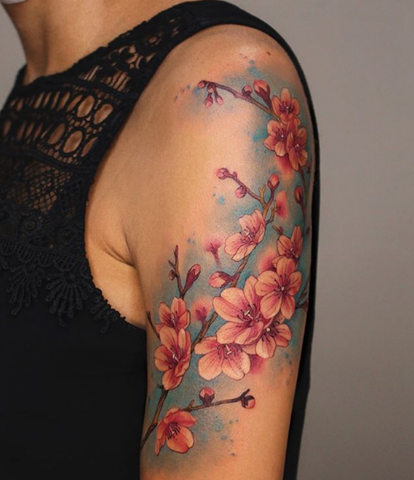 Japanese cherry blossom sakura flower sleeve tattoo for men and women